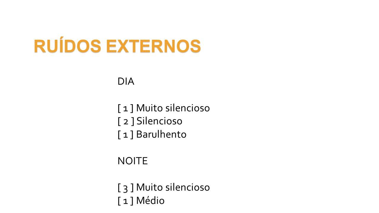 RUÍDOS EXTERNOS DIA [ 1 ] Muito silencioso [ 2 ] Silencioso